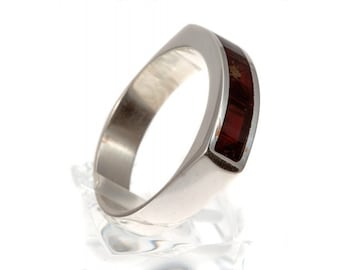 Silver ring with amber | Ring Size 9.5 US