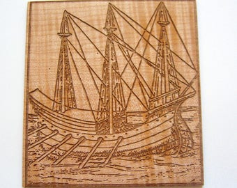Wall art Galley ship illustration Book lover's gift Wall or desk ornament