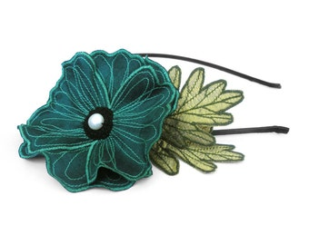 Teal Icelandic Poppy Flower Headband- You Choose Headband, Clip, or Brooch- Embroidered Silk Flower Fascinator with Leaves