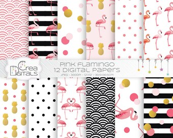 Pink flamingo - 12 digital paper pack - INSTANT DOWNLOAD