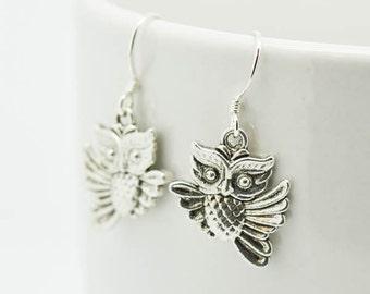 Owl Earrings, Silver Earrings, Owl Jewelry, Charm Earrings, Bridesmaid Gift, Gift for Her, Animal Earrings, Dangle Earrings, Antique Silver