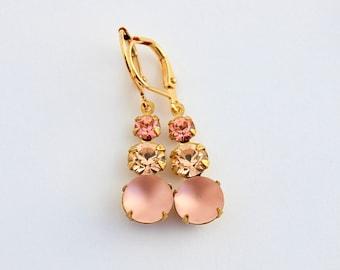 Rose Peach earrings, Rosaline earrings, light pink earrings, Peach wedding, peach Bridesmaid earrings, Spring wedding, frosted peach