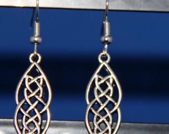Long Silver Celtic Knot Earrings, Celtic Earrings, Celtic jewelry, Silver Jewelry