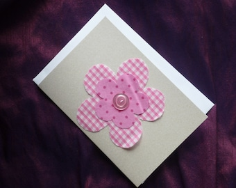 Pink Fabric Flower Card using Pink / White Gingham and Pinks Spotted Fabrics.  Suitable for Birthday, New baby, Baby Naming. Any Age