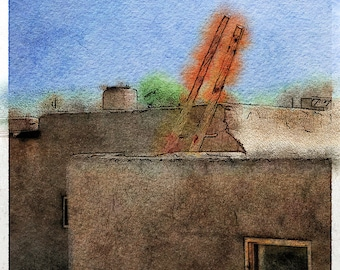 Pueblo Ladder 2, New Mexico: Photo Watercolor Art of the Famous Pueblo Outside of Taos, New Mexico