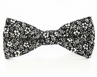 Black/White Floral Bow Tie | cotton bowtie | flower bowtie | best man bow tie | pink bow tie | flower bow tie | floral bowties | gifts