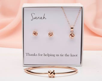 Bridesmaid Gift Set, Tie the Knot jewelry Set , Knot Earrings, Bridesmaid Earrings, Rose Gold Knot Earrings, Bridesmaid Jewelry, PD