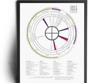 "18x24"" 2018 Liturgical Calendar - on Satin White Paper - Poster - Gift for Him - Gift for Her"