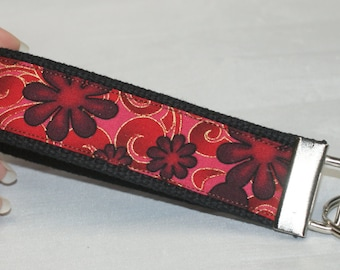 Red with flowers keychain wristlet