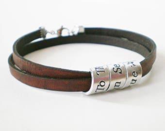 Personalised Leather Bracelet, Secret Message Wrap Bracelet, Handstamped Cuff, Men's Jewellery, Keepsake Gift for Her, Custom Boho Jewelry