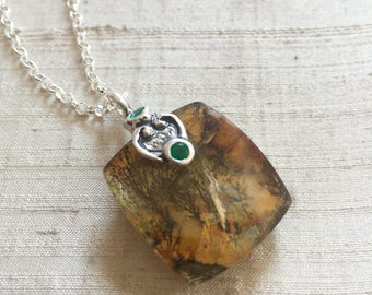 Dendritic Agate and Emeralds in Sterling Silver- Scroll Pendant