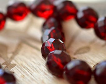 Glacé Cherries - Premium Czech Glass Beads, Transparent Dark Garnet, Facet Fire-polish Rounds 12mm - Pc 4