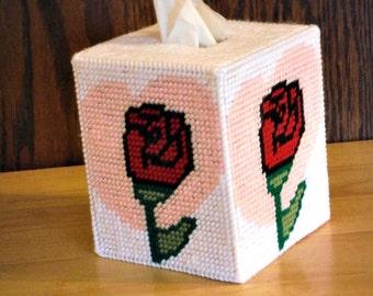 Heart of Rose Tissue Box Cover, plastic canvas, needlepoint item, valentine's gift, valentine's day, valentine's decor, Happy Valentines