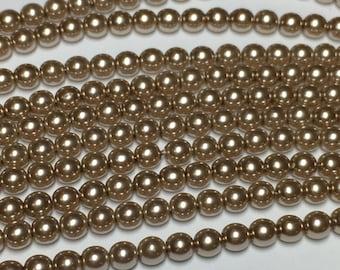 120 4mm Round Preciosa glass pearls, cocoa brown