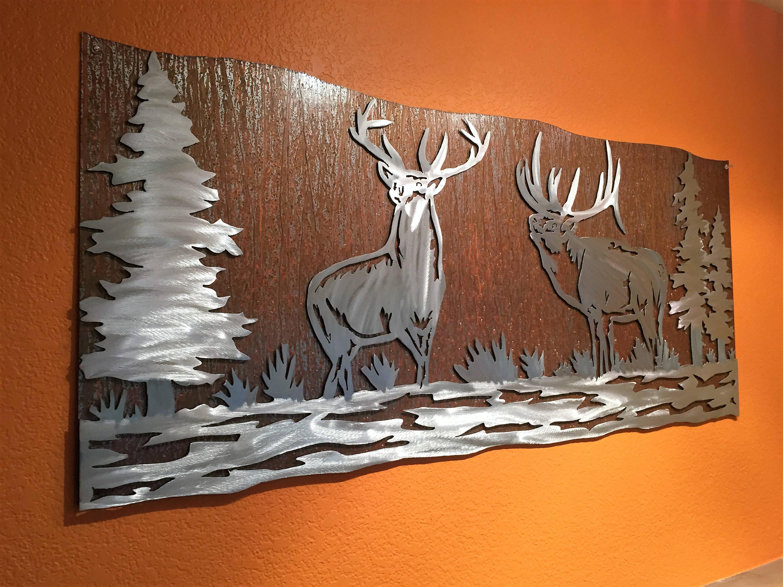 Elk Artwork Metal Wall Art Nature Scene Wildlife Forest