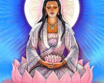 KUAN YIN Buddha spiritual art meditation Print lotus Zen Buddhist Kwan Yin