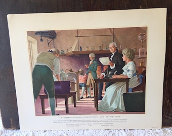 Lavoisier: Oxygen Combustion & Respiration/John Hunter Founder of  Surgery Vintage Lithograph USA Prints History Of Medicine In Pictures