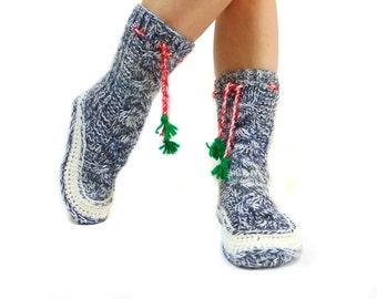 Cable Knit Long Socks, Handmade House booties, Gift Socks, Long Pompom Cute Slippers