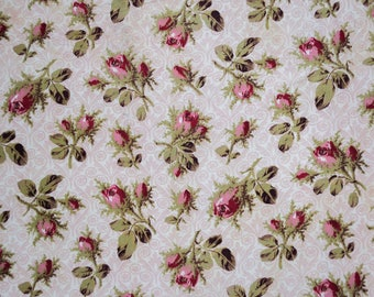 French antique fabric with pretty rosebuds