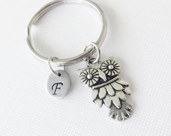 Owl Keychain Silver Bird Animal Jewerly Pendant Stainess Steel Initial Personalized Hand Stamped Man Gift BFF Best Friend Holiday Birthday