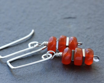 Orange stone earrings / carnelian gemstone earrings / silver square earrings / gifts for her / free shipping Canada