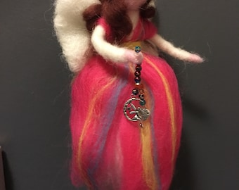 Magical Needle Felted Waldorf Style Fairy with Glass Beads and Fairy Charm
