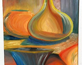 Oil Still Life, Cool & Warm Vase