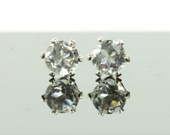 White topaz earrings, sterling silver and white topaz studs, 3mm or 4mm, diamond alternative, April birthstone jewellery, gift for women