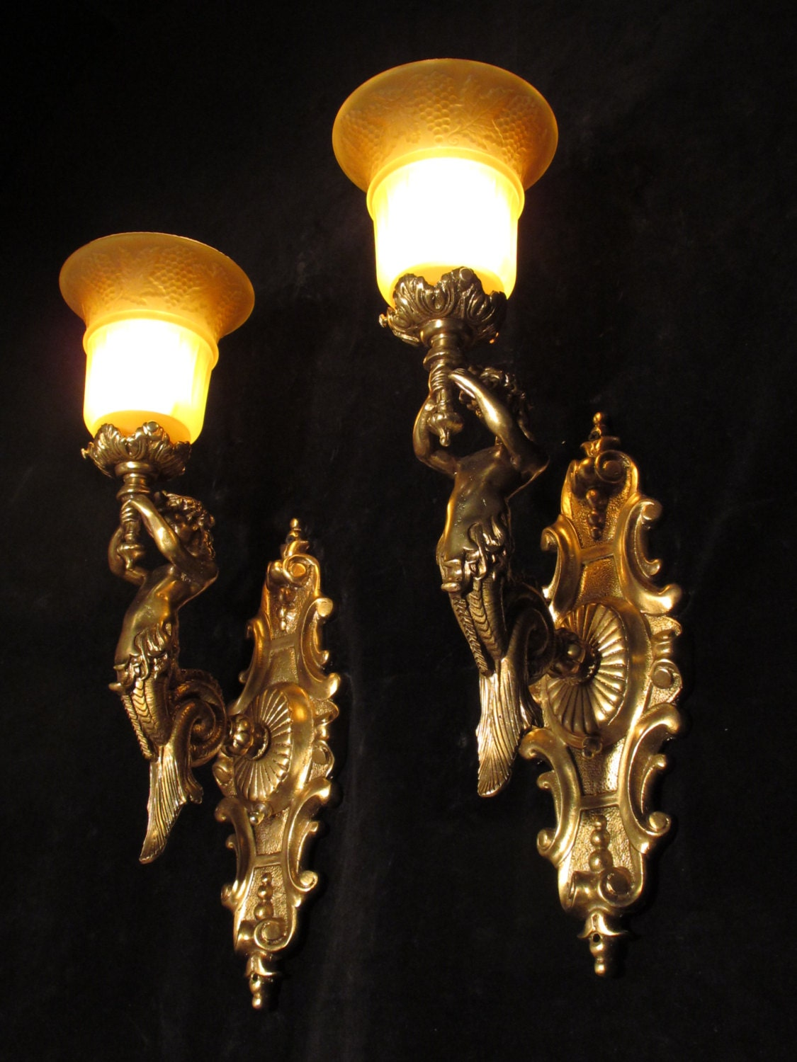 Pair of wall light sconces french style with mermaid sculptures pair of wall light sconces french style with mermaid sculptures solid bronze by sergio merlin aloadofball Choice Image