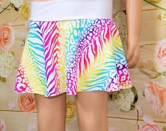 Neon Rainbow Animal Print Stripes Circle Twirl Skirt Child ALL Sizes - MTCoffinz