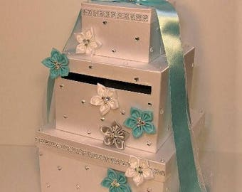 Wedding Card Box White and Blue /Silver Gift Card Box Money Card Box Holder-Customize Your Color