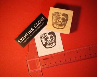Hand carved rubber stamp - Tlingit otter design.