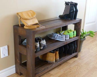 Entryway 3 levels Rustic Shoe Rack, Shoe Storage, Shoe Organizer, Shoe Cabinet, Shoe Rack Wood