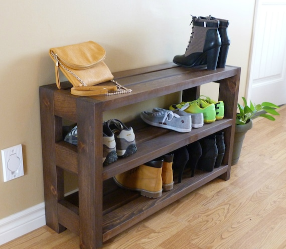 Entryway 3 Levels Rustic Shoe Rack Shoe Storage Shoe