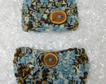 Diaper Cover and Hat Set in Blue Brown
