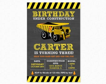 Construction Birthday Party Invitation, Dump Truck, Yellow, Black, Stripes, Personalized, Printable or Printed