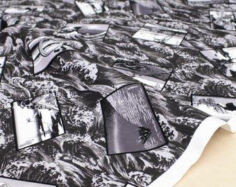 Japanese Fabric Hokusai Monochrome canvas - 50cm