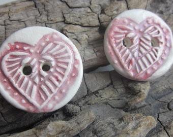 2 Medium Red Heart Pattern Buttons