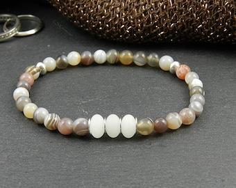 Bracelet from Botswana-Agate & Snow Quartz