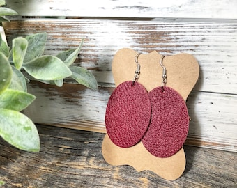 Leather earrings - Oval - Paint the Town Red