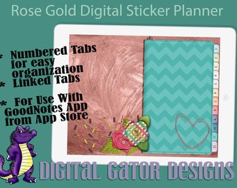 2018 Rose Gold Digital Sticker Planner with Linked Tabs