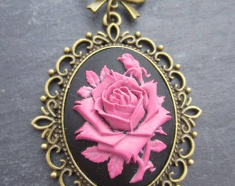 Dreamy romantic rose on a black base necklace