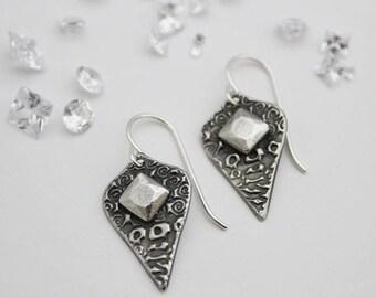 Silver Facet Pod Earrings