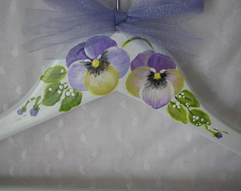Purple Pansies Clothes Hanger Soft White Hand Painted Adult Size Dress Wedding Hanger