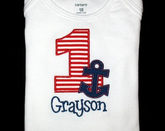 Custom Personalized Applique Birthday Number ANCHOR and NAME Shirt or Bodysuit - Red Stripe and Navy Blue