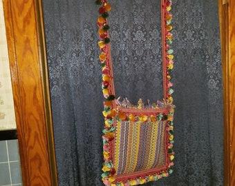 Hippie Purse - Tassel Purse - Ethnic Purse - Boho Bag - Beach Tote - Tote Bag Canvas - Tote Bag Pattern - Rainbow Bag- Rainbow Purse