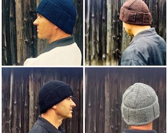 Mens winter wool hat - black,  grey,  brown, red, cream