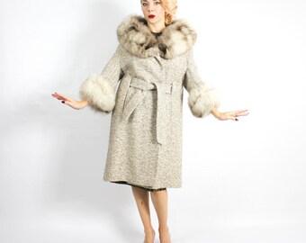 60s Tweed Wool Trench Coat | Fur Collar &Cuffs Wool Coat | Large