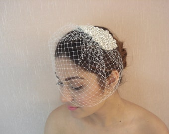 Bridal French / Russian Detachable Birdcage Veil with Rhinestone Applique Comb - Ships in 3-5 Business Days