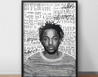 Kendrick Lamar quote print / poster hand drawn type / typography